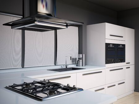 Interior of modern kitchen with gas cooker 3d render