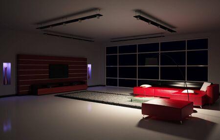 Modern Living room interior 3d render Фото со стока