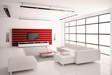 Modern Living room in white red interior 3d render