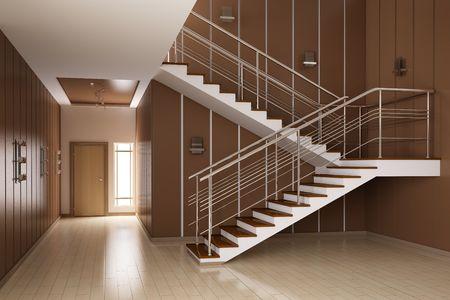 Modern interieur voor een hal met trappen 3d render  Stockfoto