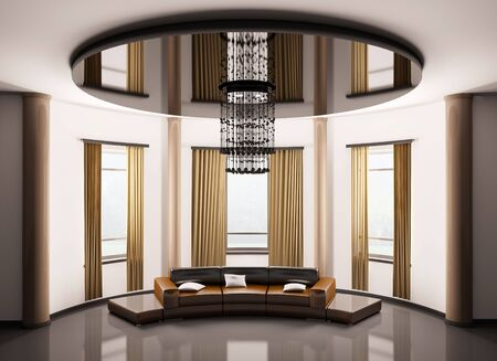 Round room with round brown sofa interior 3d render