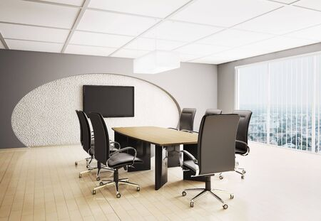 conference room with lcd tv interior 3d render Stock Photo - 6589581