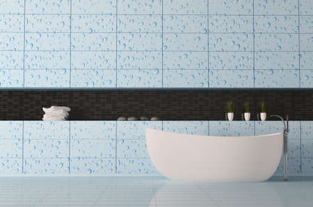 bathroom interior with water drops on the wall 3d render Stock Photo - 6895222