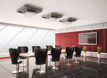 Modern boardroom with lcd interior 3d render Stock Photo - 6895223