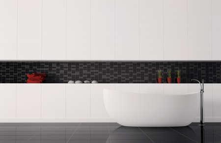 mosaic floor: bathroom interior 3d render
