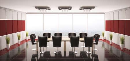 Modern boardroom interior panorama 3d render photo