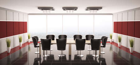 boardroom: Modern boardroom interior panorama 3d render Stock Photo