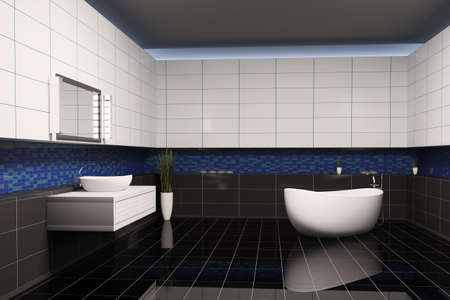 Bathroom with black blue white walls interior 3d