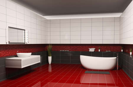 Bathroom with black white walls and red floor interior 3d photo