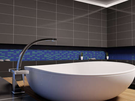 White washbasin in black blue bathroom 3d render Stock Photo - 6895228