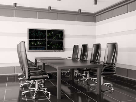 Modern boardroom with lcd interior 3d render photo