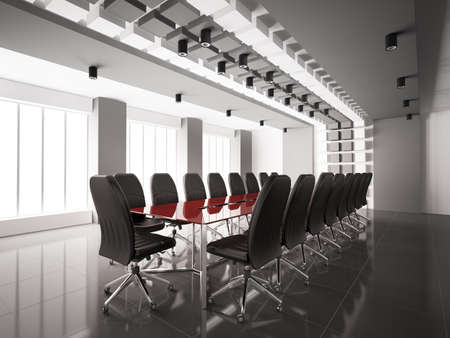 Modern boardroom with red table interior 3d render
