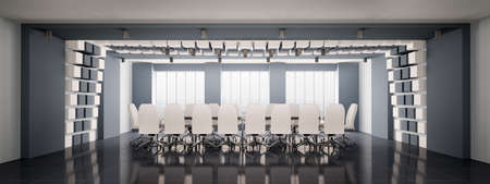 Modern boardroom with white chairs interior panorama 3d render photo