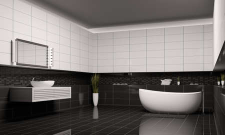 bathroom tiles: Bagno con pareti bianche neri interior 3d rendering