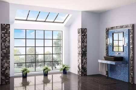 Bathroom with big window interior 3d render photo
