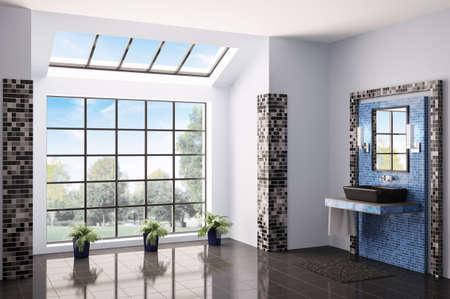 Bathroom with big window interior 3d render