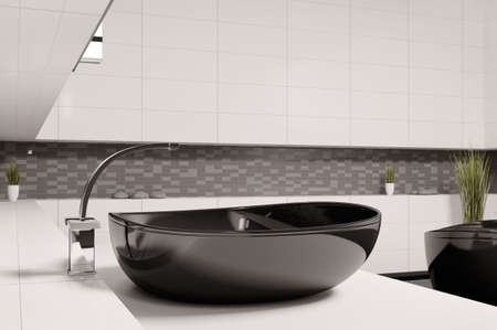 washbasin: Black washbasin in bathroom 3d render Stock Photo