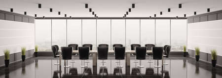 panoramic business: Modern boardroom interior panorama 3d render Stock Photo