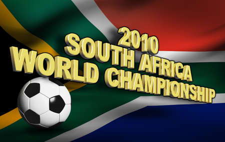 Football 2010 with south africa flag 3d render photo