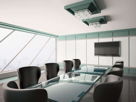 Modern boardroom with lcd and glass table interior 3d