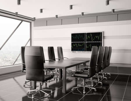 Modern boardroom with lcd interior 3d render