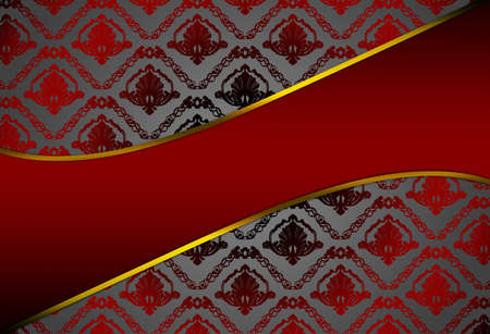 Modern red background with damask pattern Stock Photo - 7099257