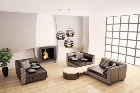 Modern interior of room with fireplace 3d render photo
