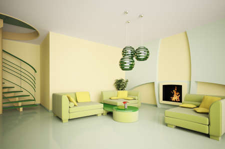 green couch: Modern living room interior with stair and fireplace 3d Stock Photo