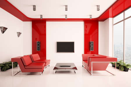 Modern living room with lcd interior 3d photo