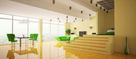 Modern apartment with yellow walls and wood floor interior panorama 3d photo