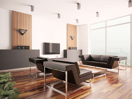 Modern living room with parquet floor interior 3d