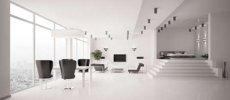 White Apartment inter panorama 3d render Stock Photo - 7553603
