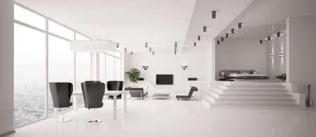 White Apartment interior panorama 3d render Stock Photo