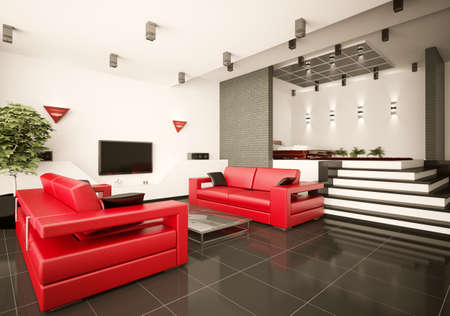 Modern apartment with living room and bedroom interior 3d render photo