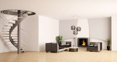 Modern living room interior with spiral stair and fireplace 3d