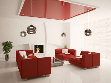 Modern interior of living room with fireplace 3d render Stock Photo - 7553611