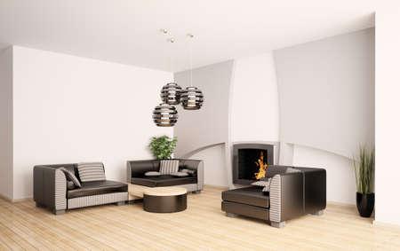Int�rieur moderne salle de s�jour avec foyer de rendu 3d