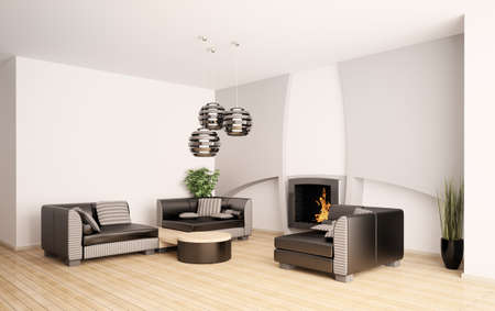 Modern living room interior with fireplace 3d render Stock Photo - 7553613