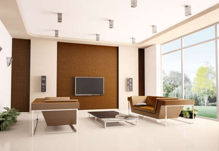 Modern living room with brick wall interior 3d Stock Photo - 7553617
