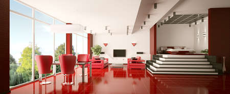 Modern apartment with red tiled floor interior panorama 3d render photo