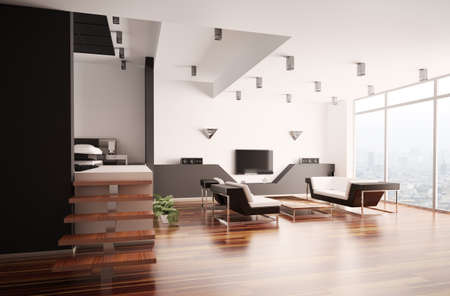 Modern apartment with living room and bedroom interior 3d Stock Photo - 7553615