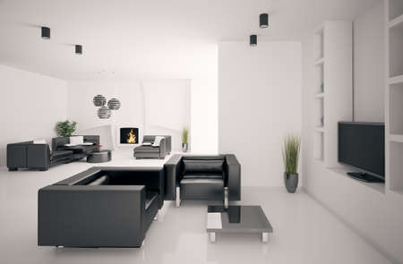 Living room with fireplace interior 3d render photo