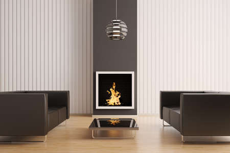 Interior with fireplace and two black sofas 3d render