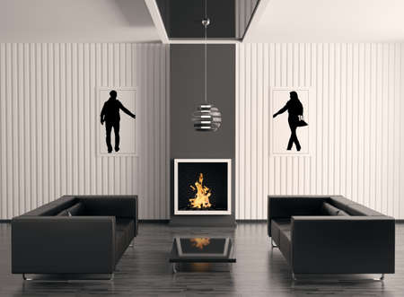 Interior with fireplace and two black sofas 3d render photo