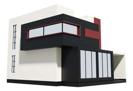 Modern house exterior isolated over white 3d photo