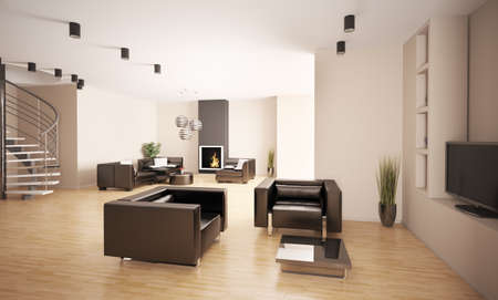 Apartment with stair and fireplace interior 3d render photo