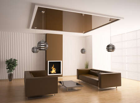 Inter of living room with fireplace 3d render Stock Photo - 7578937
