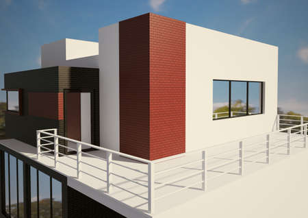 outside outdoor outdoors exterior: Modern private house exterior 3d render