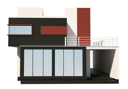 Front of private house exterior isolated over the white 3d photo