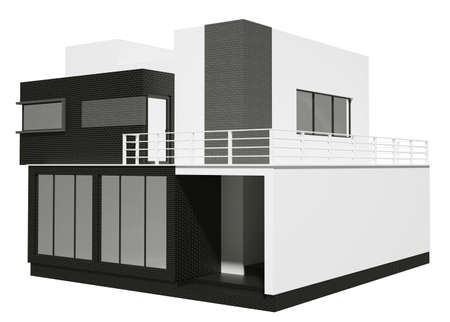 Private house exterior isolated over the white 3d photo